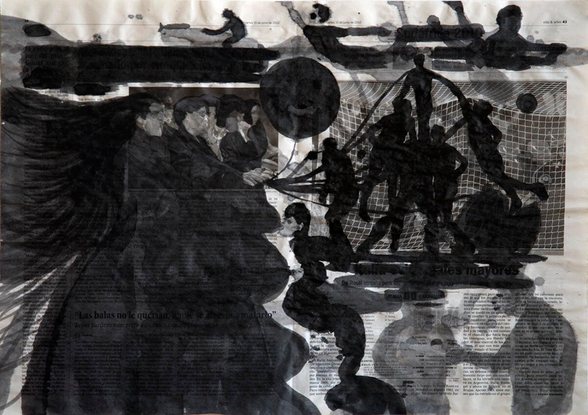 Sobre El País (sucklings), series 38 drawings, 40 x 57 cm, ink on newspaper, 2011