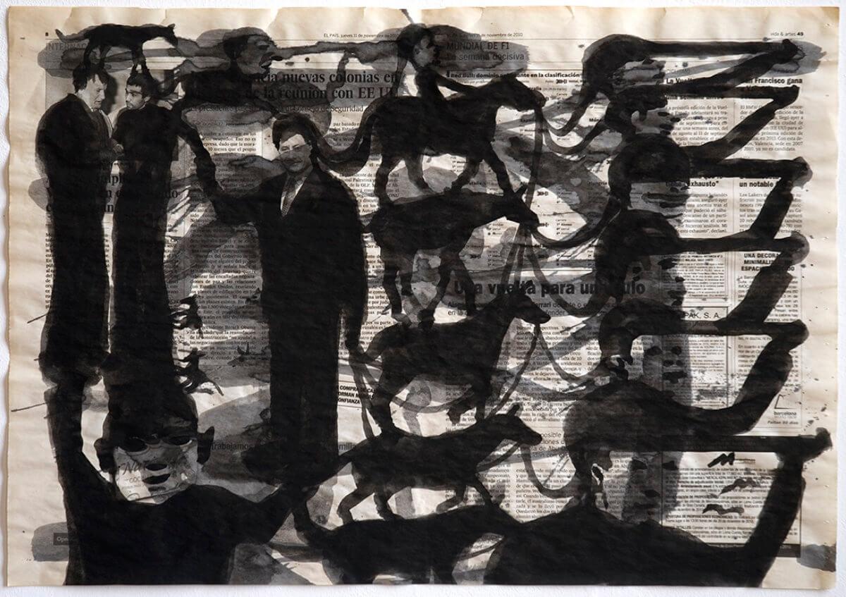 Sobre El País (stack), series 38 drawings, 40 x 57 cm, ink on newspaper, 2012