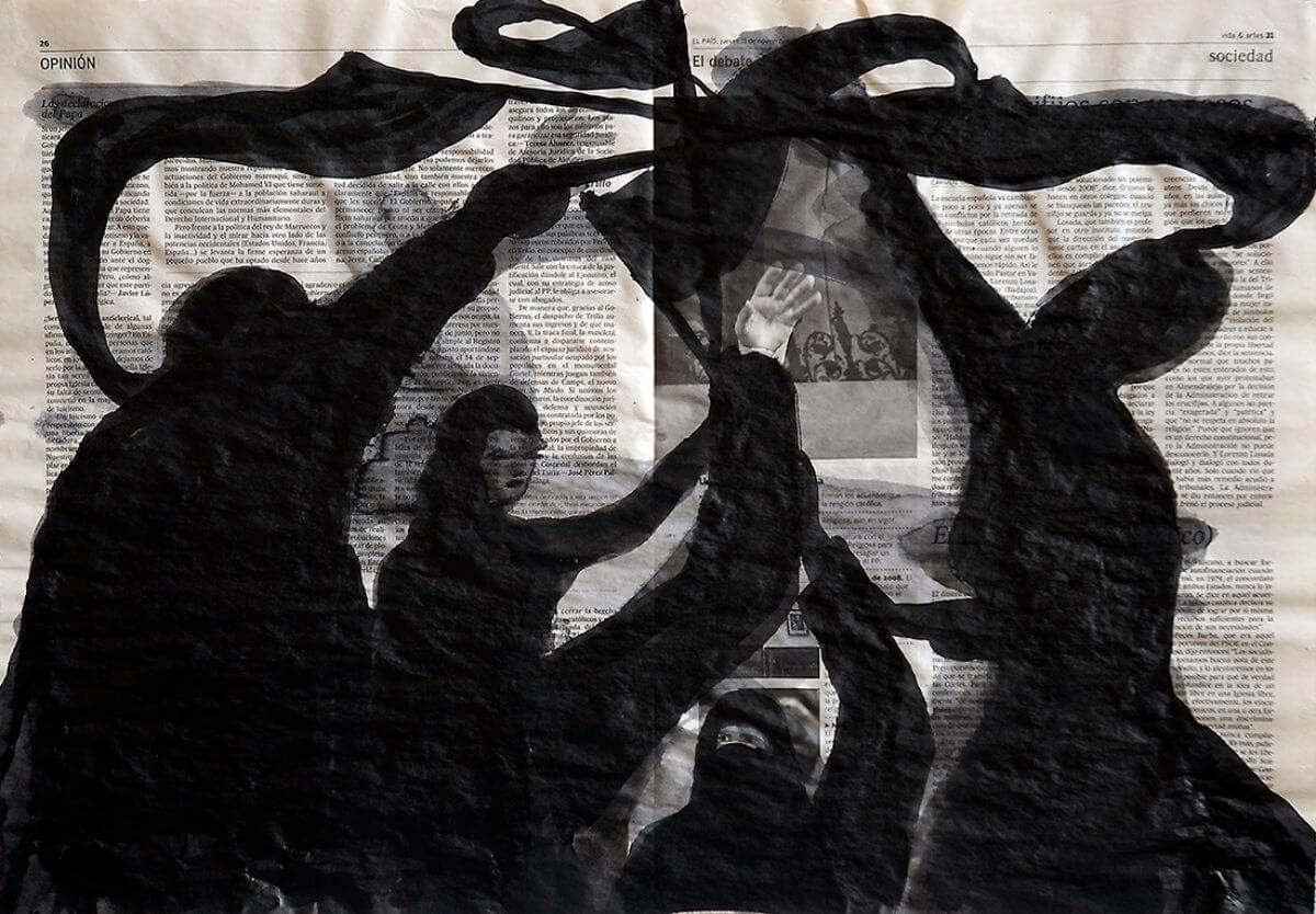 Sobre El País (flags), series 38 drawings, 40 x 57 cm, ink on newspaper, 2012