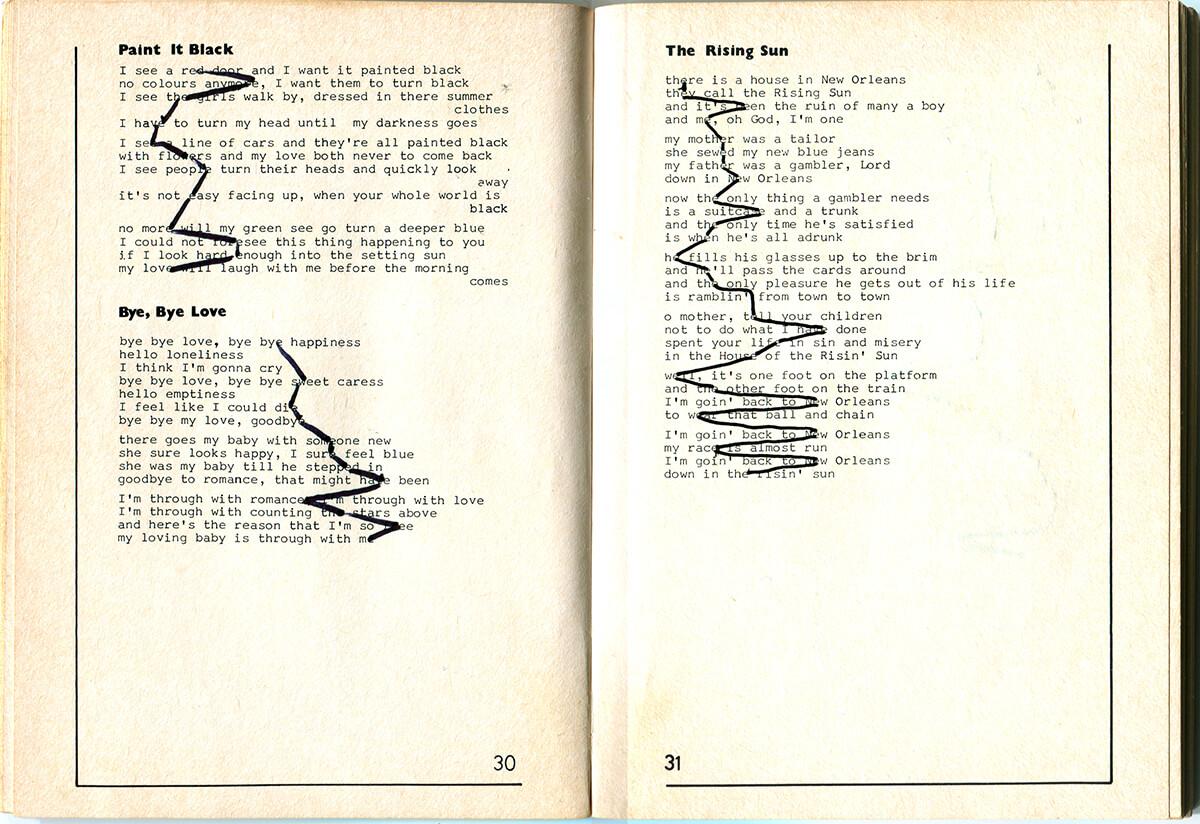NCSV Kampliederenbundel, page 30+31 of 91 pages, 14.1 x 20.5 cm, ink on book, 1990
