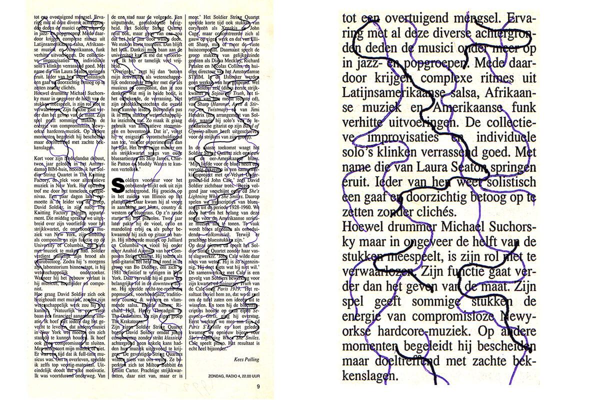 Tot een overtuigend (with detail), 25 x 15.5 cm, ink on newspaper, 1992