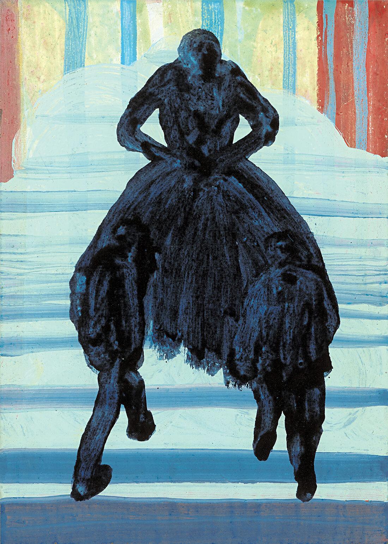 untitled (trinidad azul), 40 x 28 cm, egg tempera on paper, 2000
