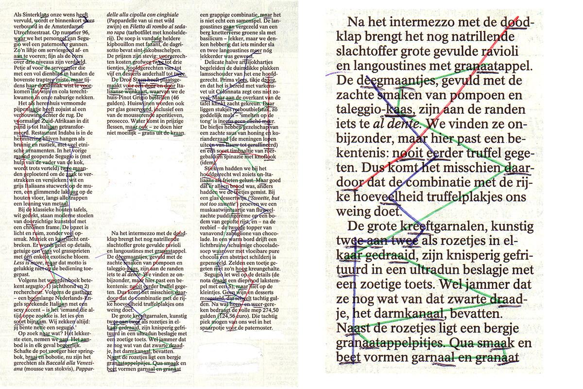 Als Sinterklaas (with detail), 22 x 18 cm, ink on newspaper, 2001