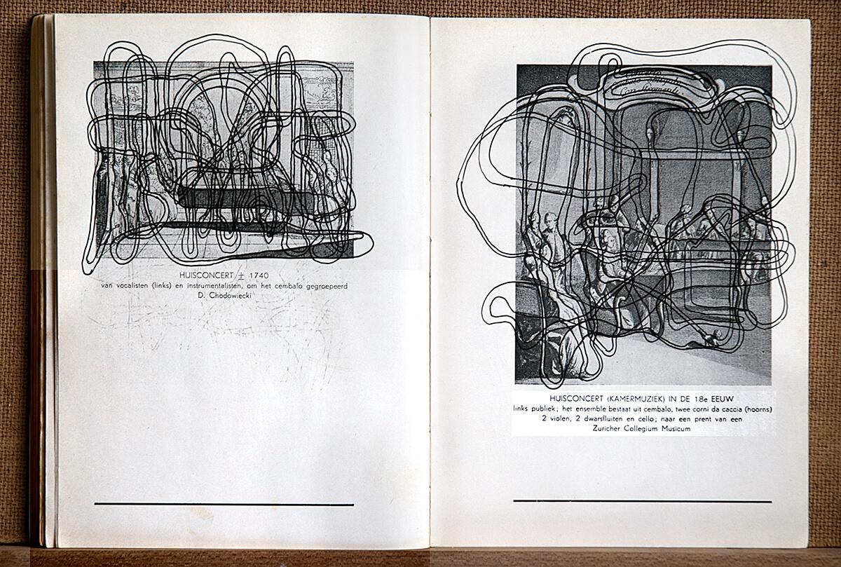 Volksmuziek, page 82+83 (Huisconcert) of 88 pages, open 20 x 30 cm, ink on book, 2002