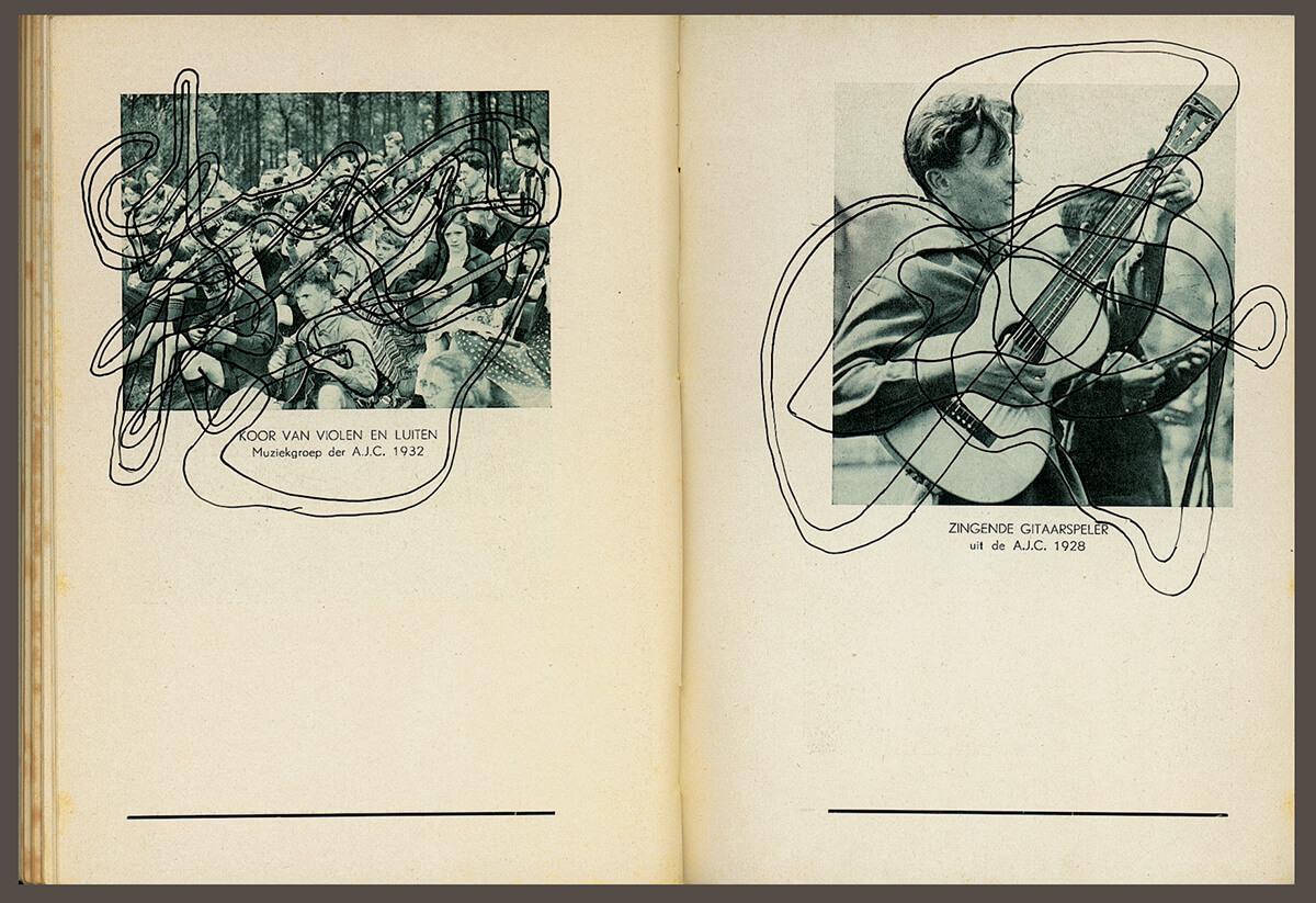 Volksmuziek, page 88+89 (koor van violen) of 88 pages, open 20 x 30 cm, ink on book, 2002