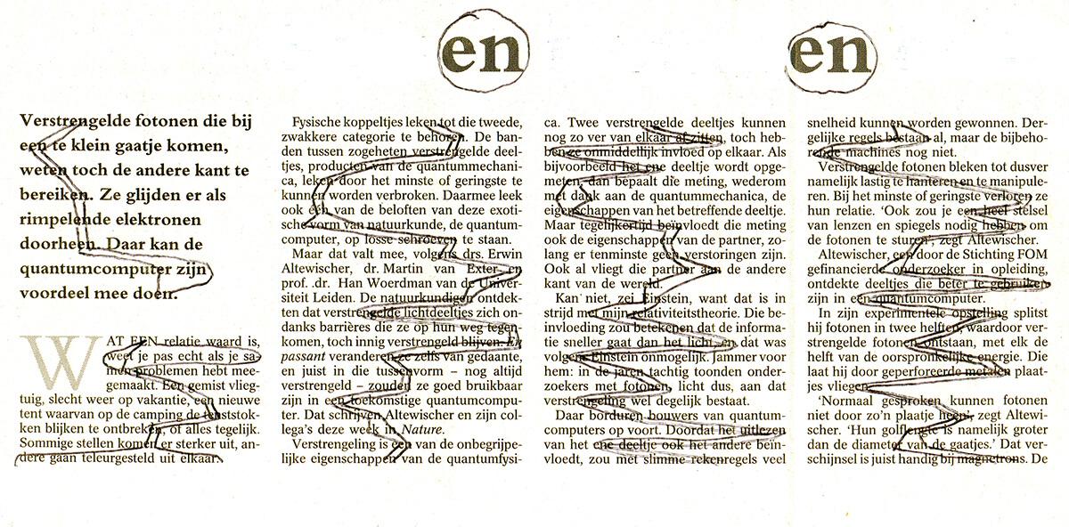 Fotonen (en, en), 13 x 25 cm, ink on newspaper, 2002
