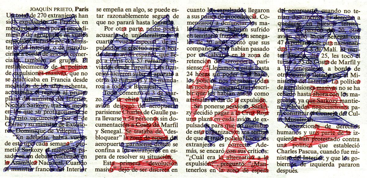 270 extranjeros, 14 x 28 cm, ink on newspaper, 2003