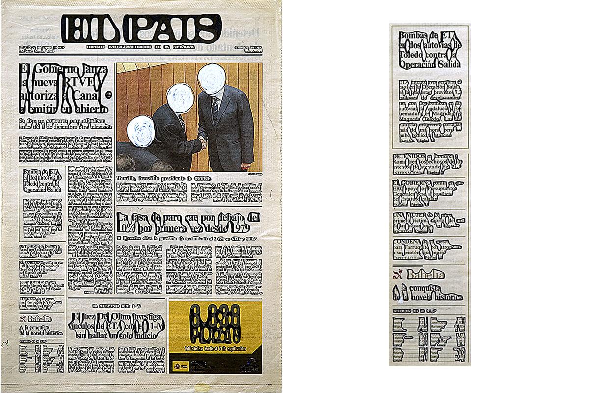 El País, portada (with detail), 40.5 x 28.7 cm, ink on newspaper, 2005