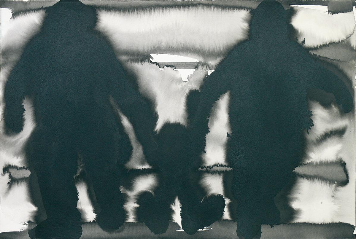 untitled (parents, child), 38,5 x55 cm, ink on paper, 2005