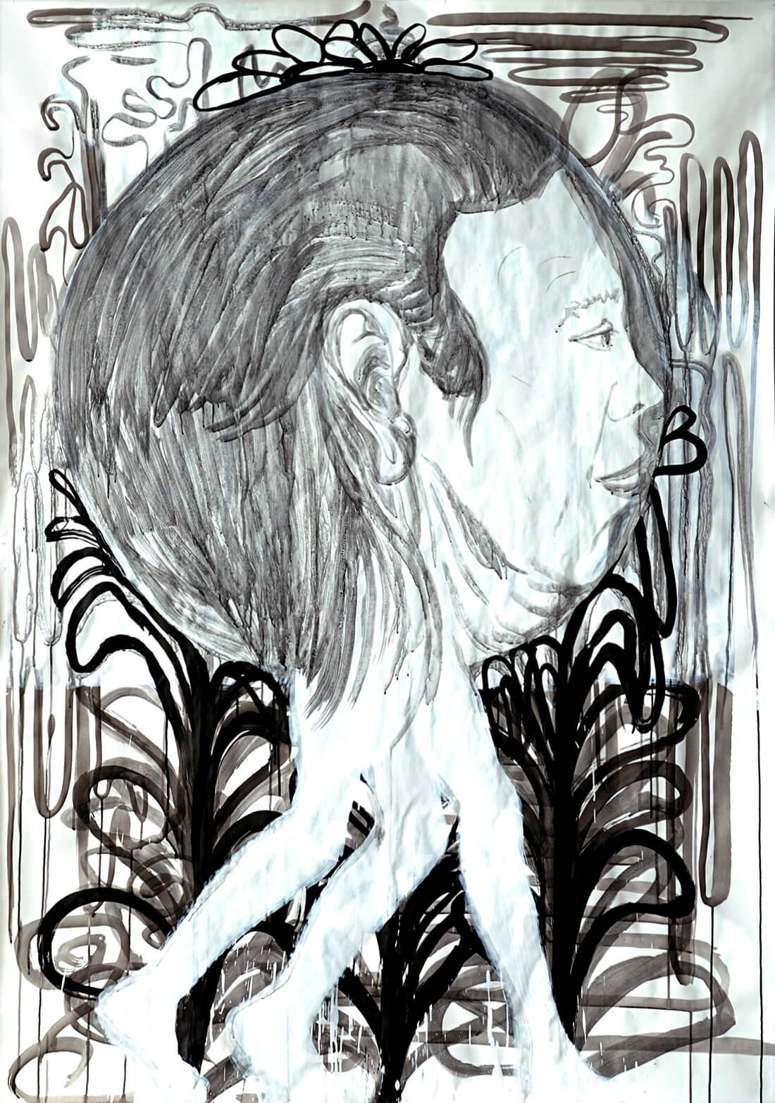untitled (3-legged head), 210 x 130 cm, mixed media on paper, 2007