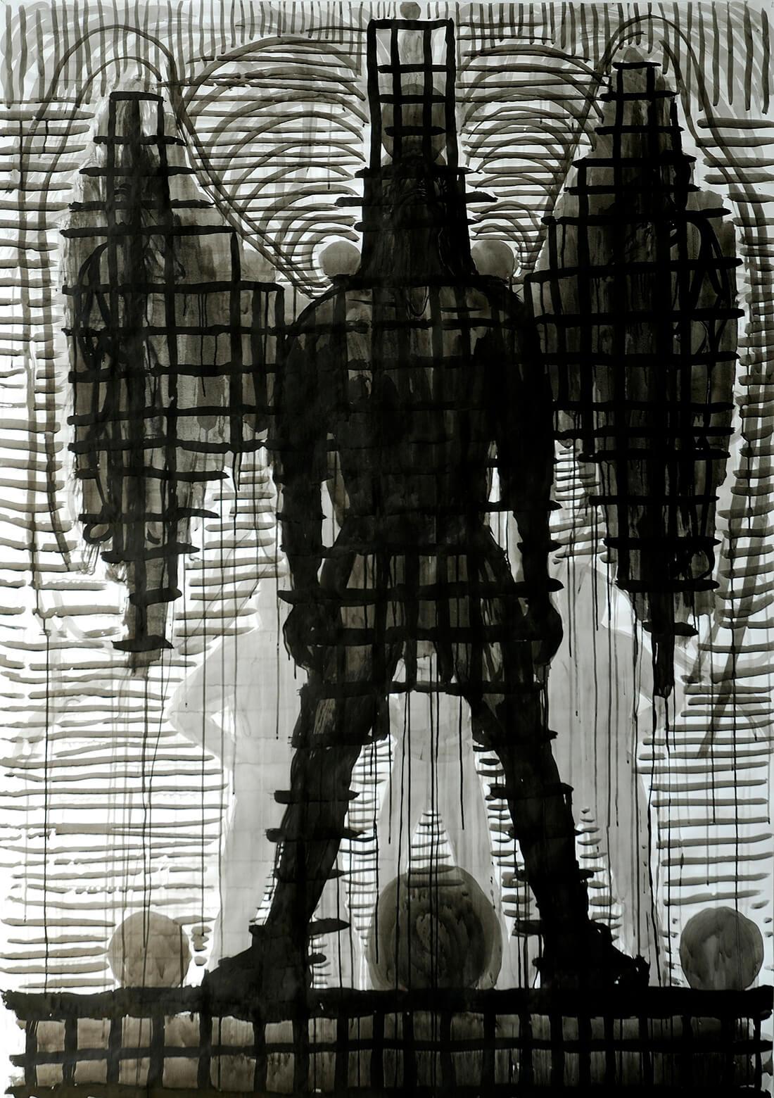 untitled (black angel), 210 x 130 cm, ink on paper, 2007
