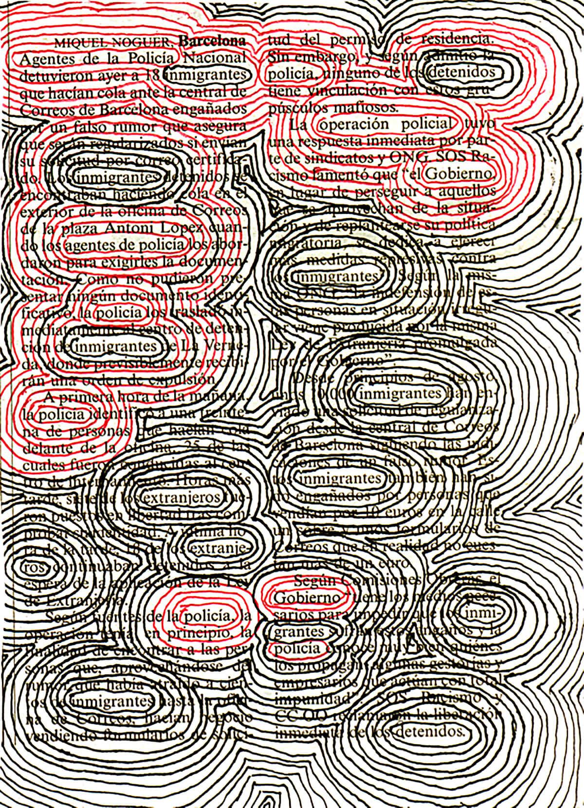 Agentes e inmigrantes, 18 x 26 cm, ink on newspaper, 2008