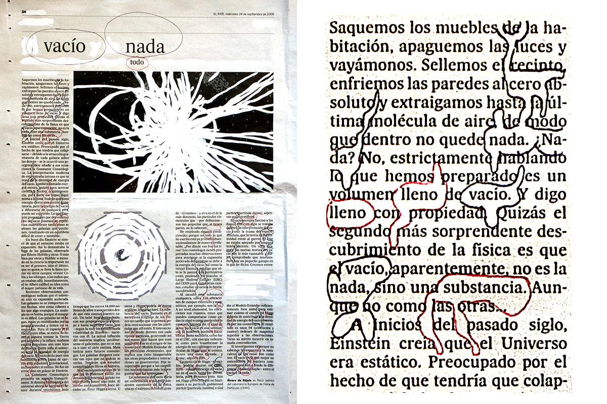 Vacío, nada, todo (with detail), 41 x 30 cm, ink on newspaper, 2008
