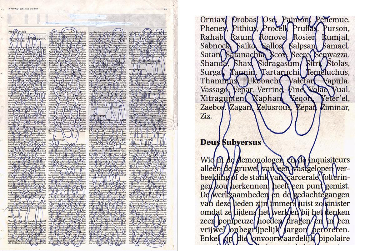 De intrigant (Elastic, with detail) 40 x 29 cm, ink on newspaper, 2009