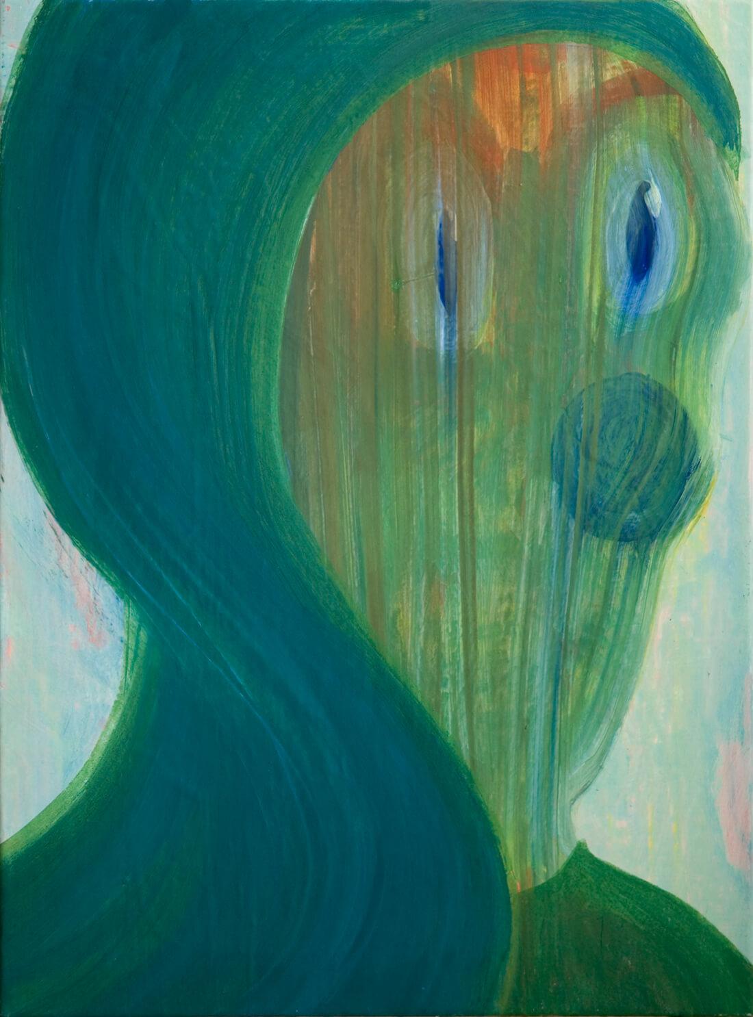 untitled (veil head), 73 x 54 cm, egg tempera on canvas, 2009