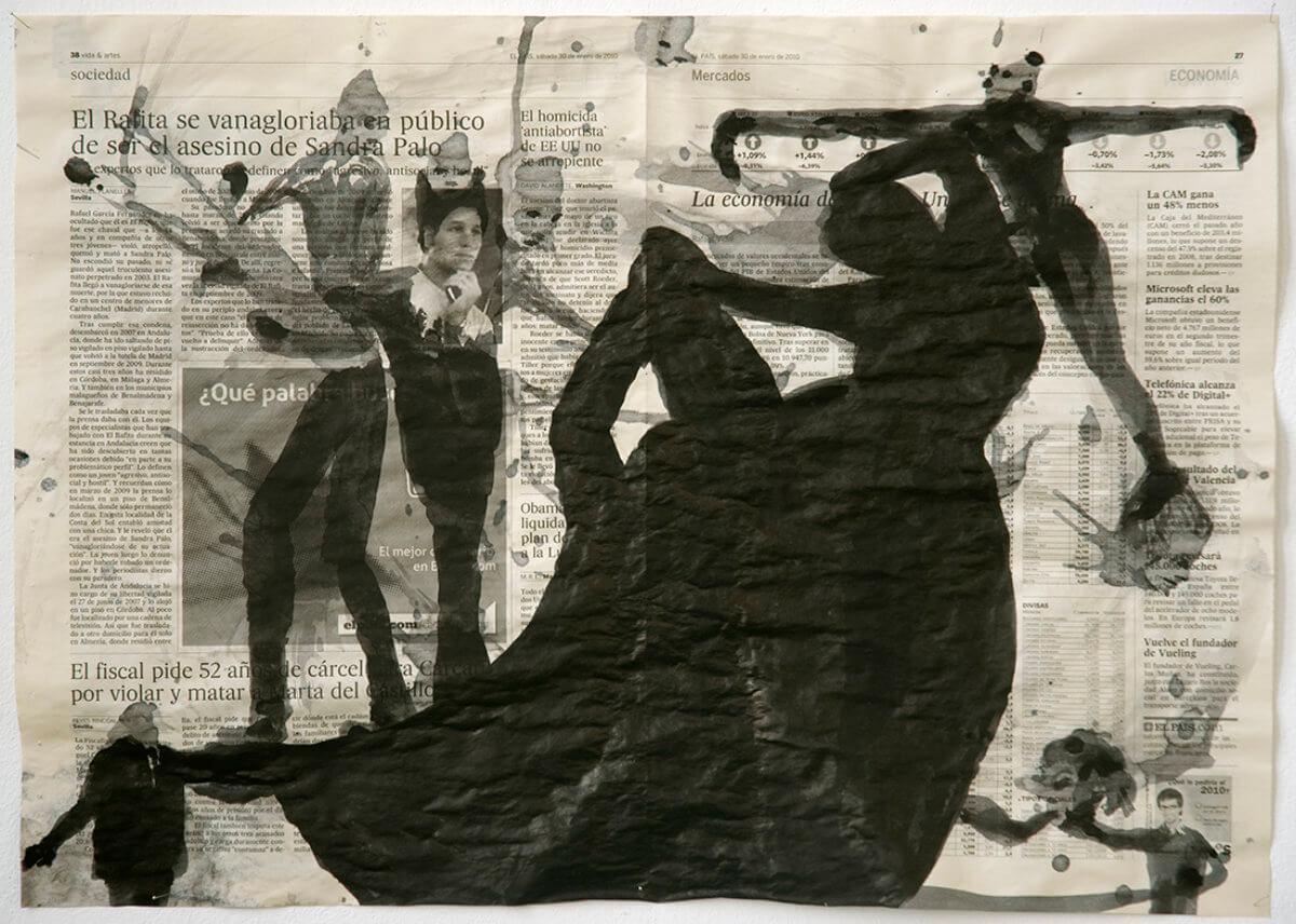 Sobre El País (Ballet), series 38 drawings, 40 x 57 cm, ink on newspaper, 2010