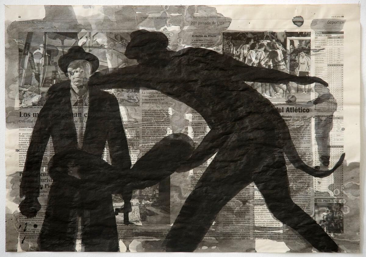 Sobre El País (Haïti man), series 38 drawings, 40 x 57 cm, ink on newspaper, 2010