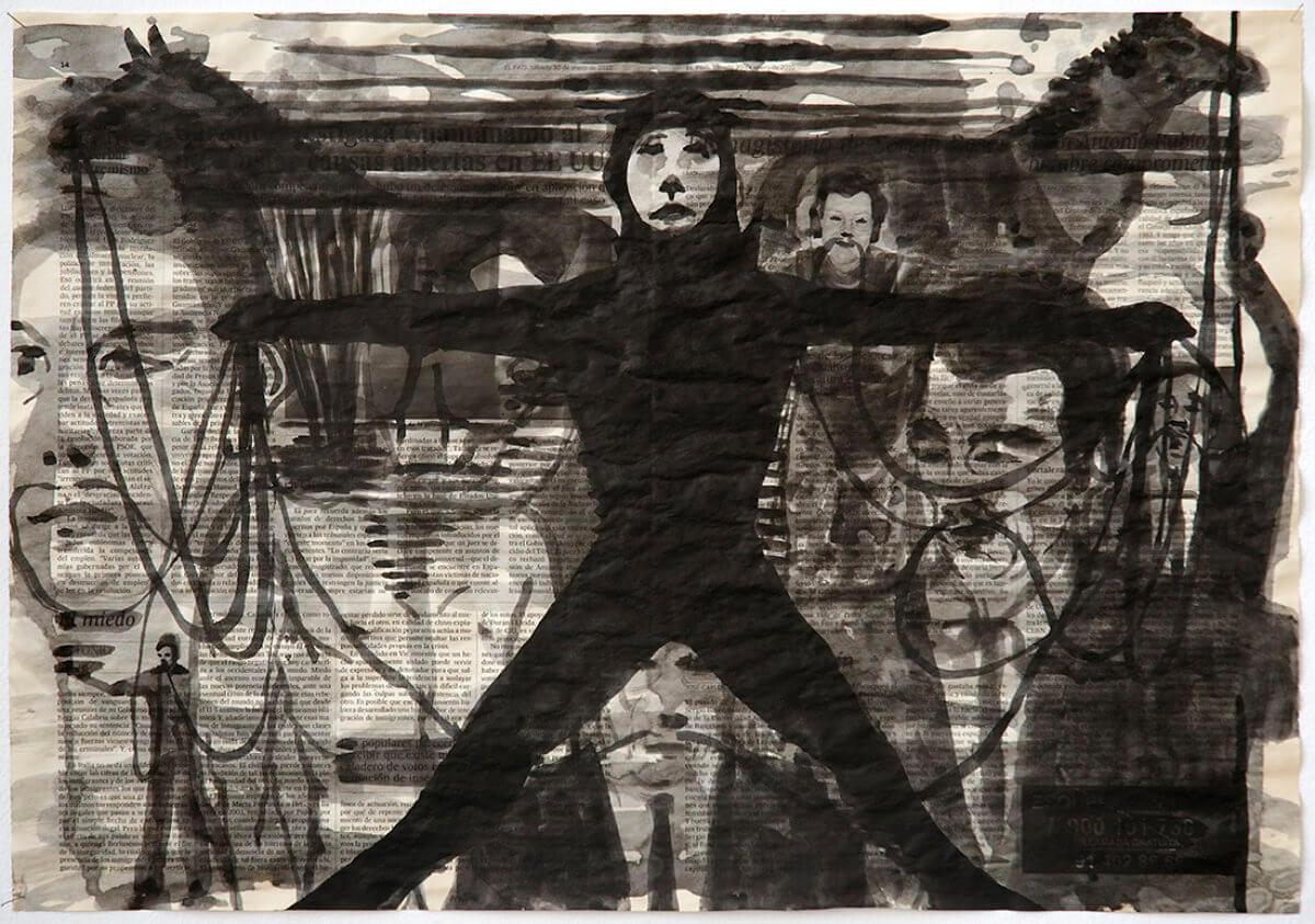 Sobre El País (Moustache holder), series 38 drawings, 40 x 57 cm, ink on newspaper, 2010