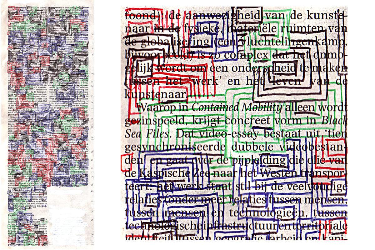 Heid-ële-eid, 40 x 15, ink on newspaper, 2010