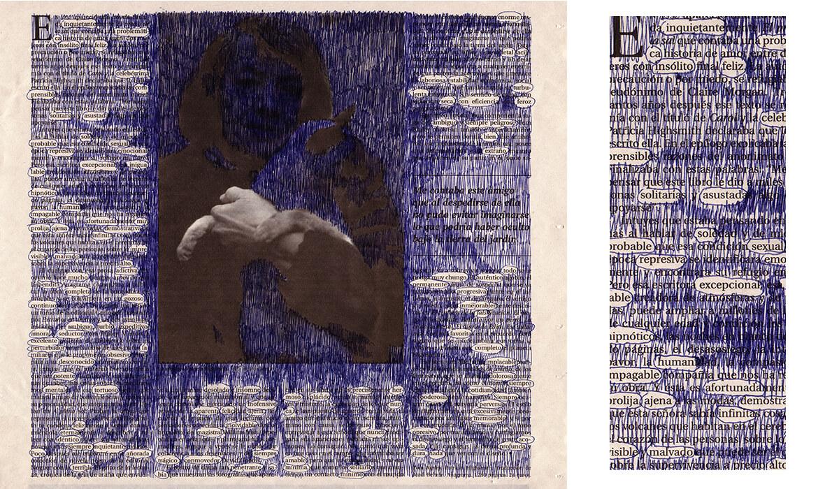 Inquietante (with detail), 25 x 29 cm, ink on newspaper, 2010