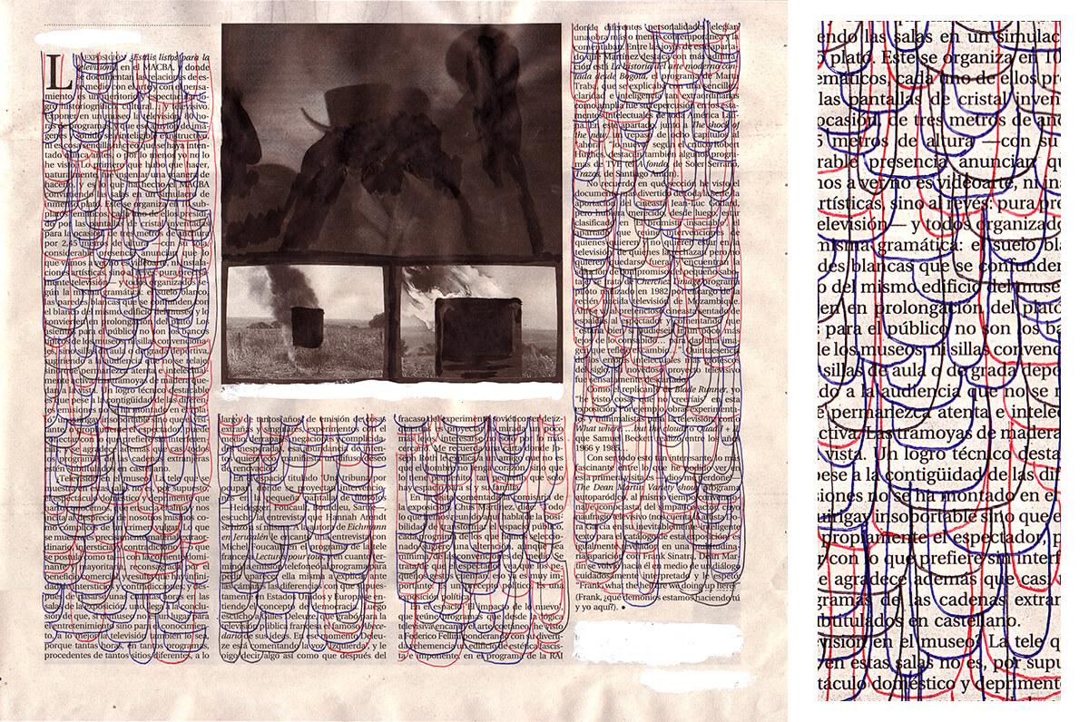 La exposición (TV, with detail), 26.5 x 29.5 cm, ink on newspaper, 2010