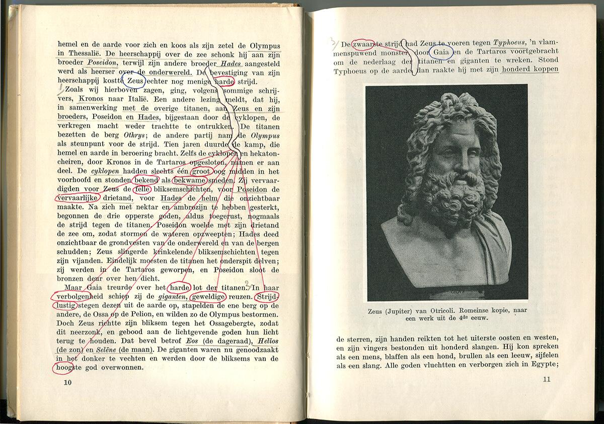 Van Goden en Helden, page 10+11 of 324 pages, 19.5 x 28.5 cm, ink on book, 2010