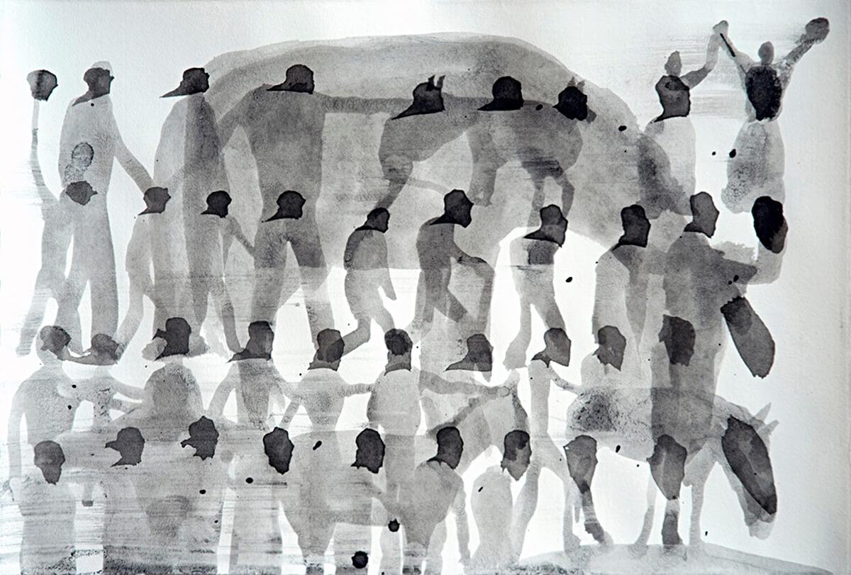 untitled (farmers, donkeys), 30 x 46 cm, ink on paper, 2011