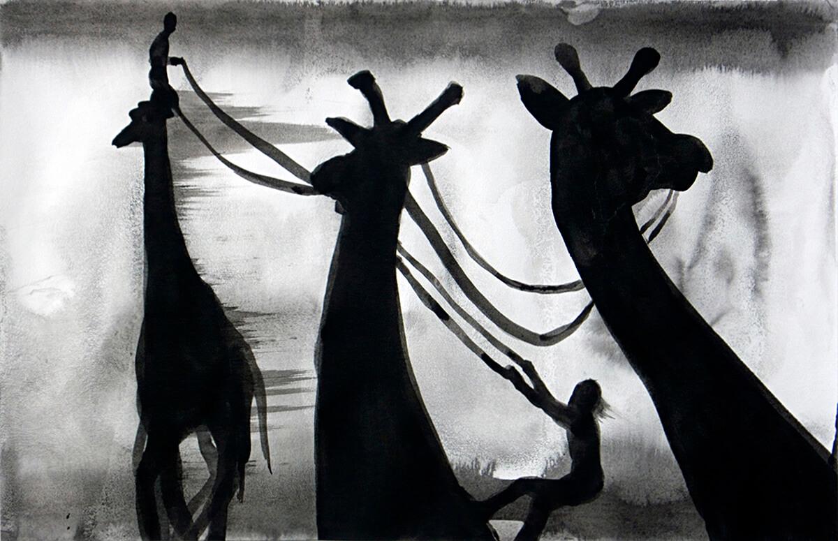 untitled (giraffe hunt), 32 x 50 cm, ink on paper, 2011