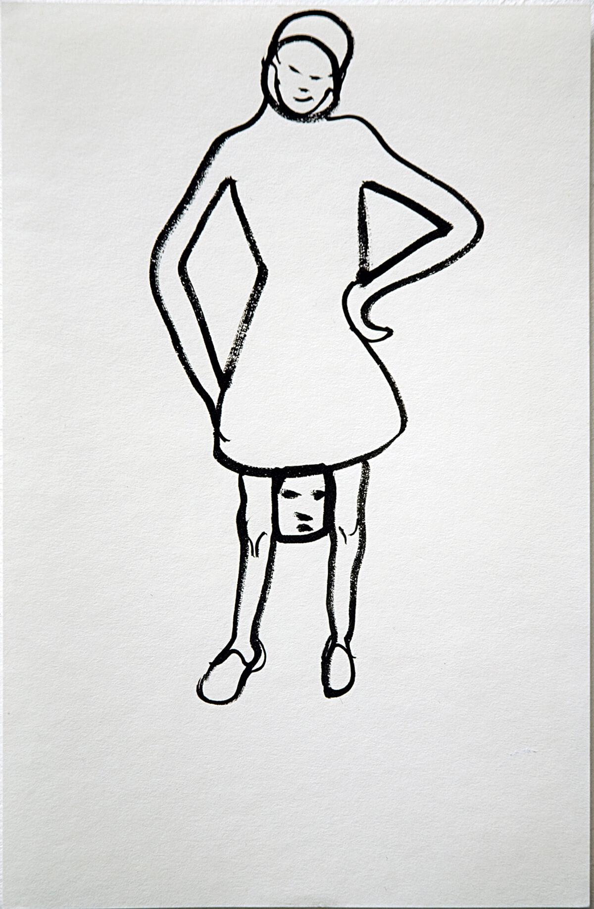 untitled (head between knees), 23 x 15 cm, ink on paper, 2011