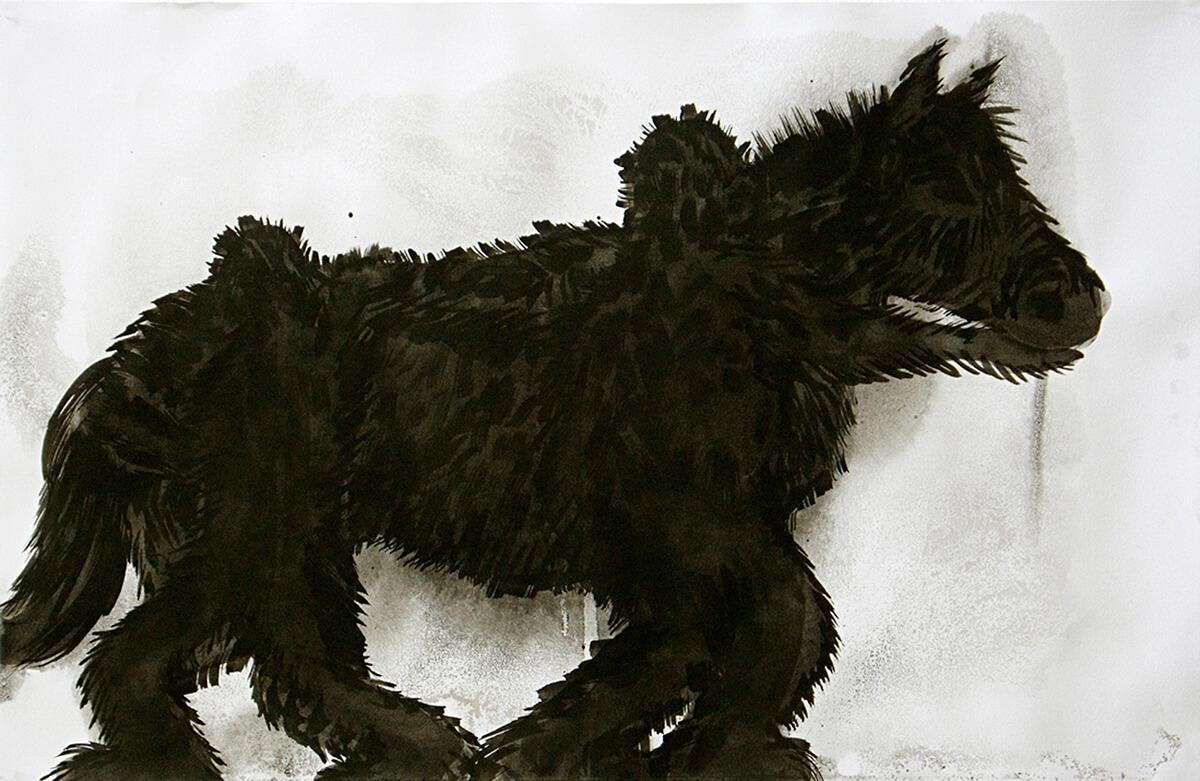 untitled (hedge-horse men), 32.5 x 50.5 cm, ink on paper, 2011