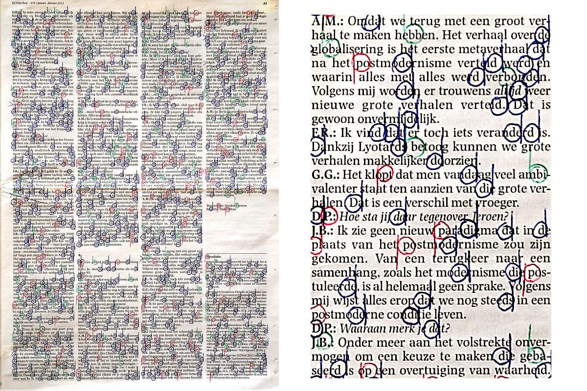Kijken (with detail), 40,5 x 29,5 cm, ink on newspaper, 2012