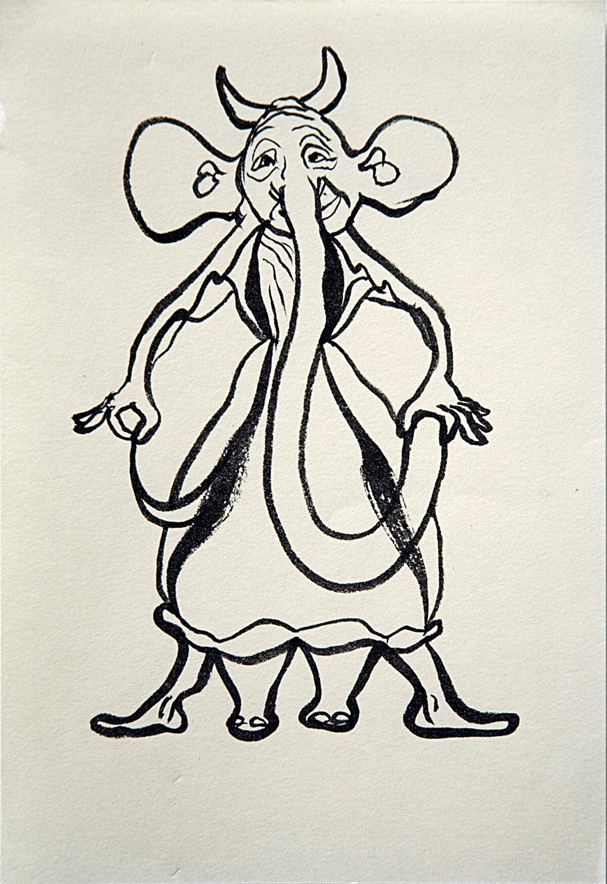 untitled (elephant god), 16 x 11 cm, ink on paper, 2012