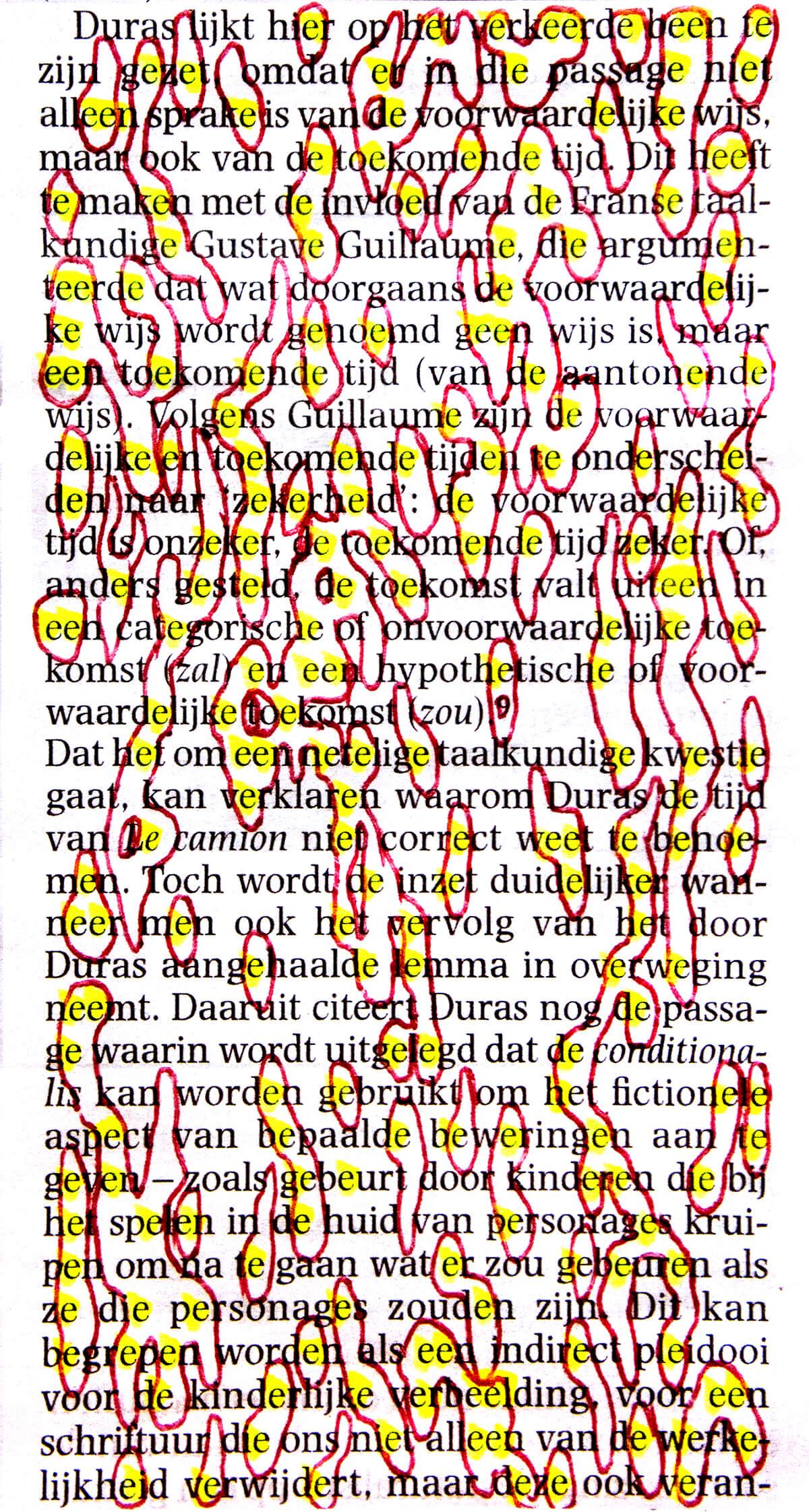 Duras, 12,5 x 7 cm, ink on newspaper, 2013