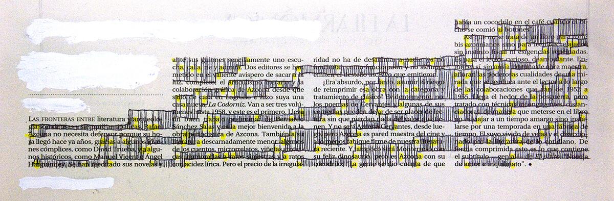 Las fronteras, 15 x 32 cm, ink on newspaper, 2013