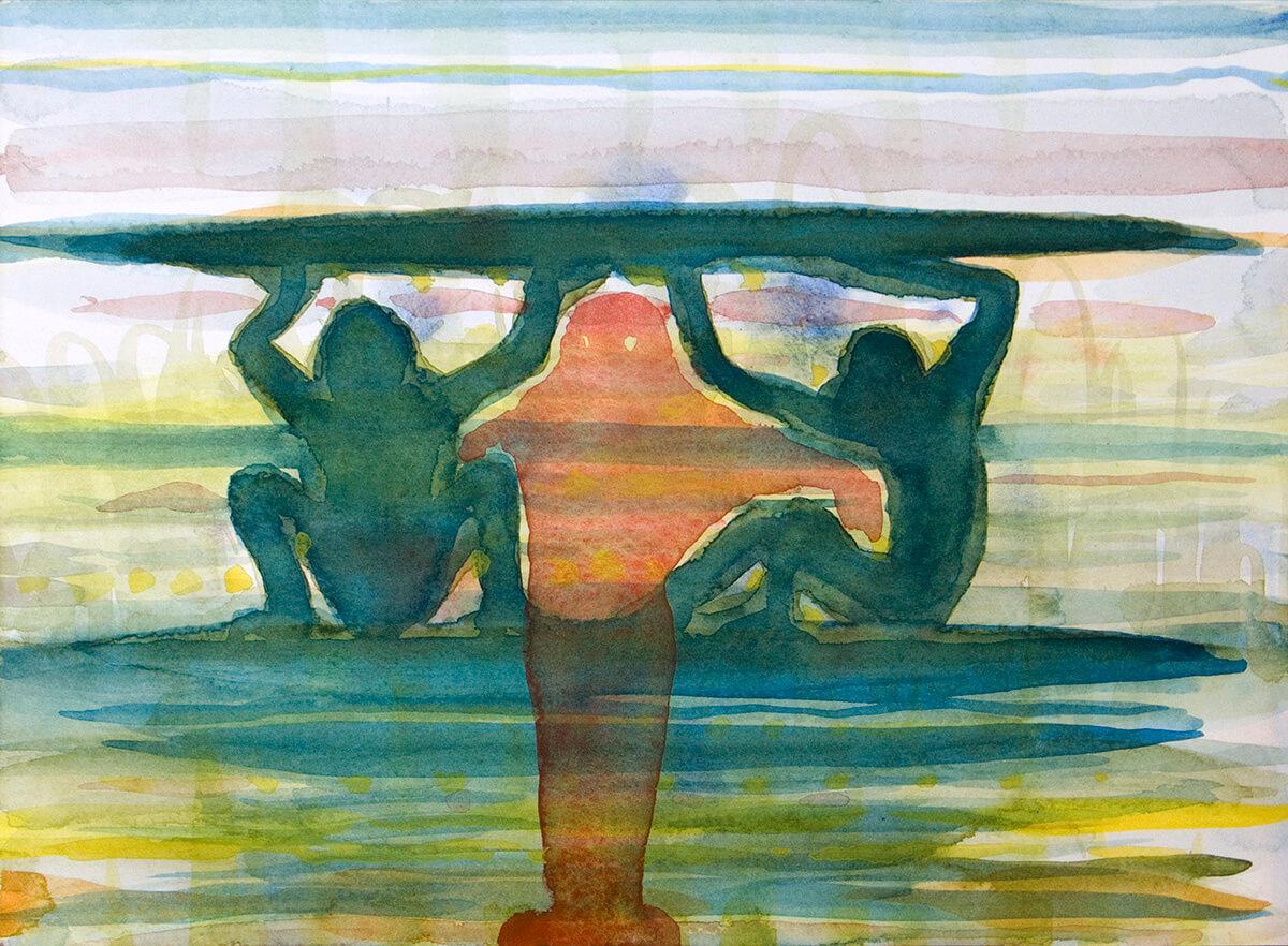untitled (monkey board), 23 x 31 cm, watercolor, 2013