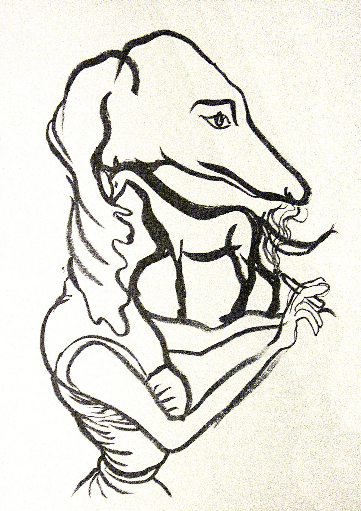 untitled (smoking dog), 16 x 11 cm, ink on paper, 2013