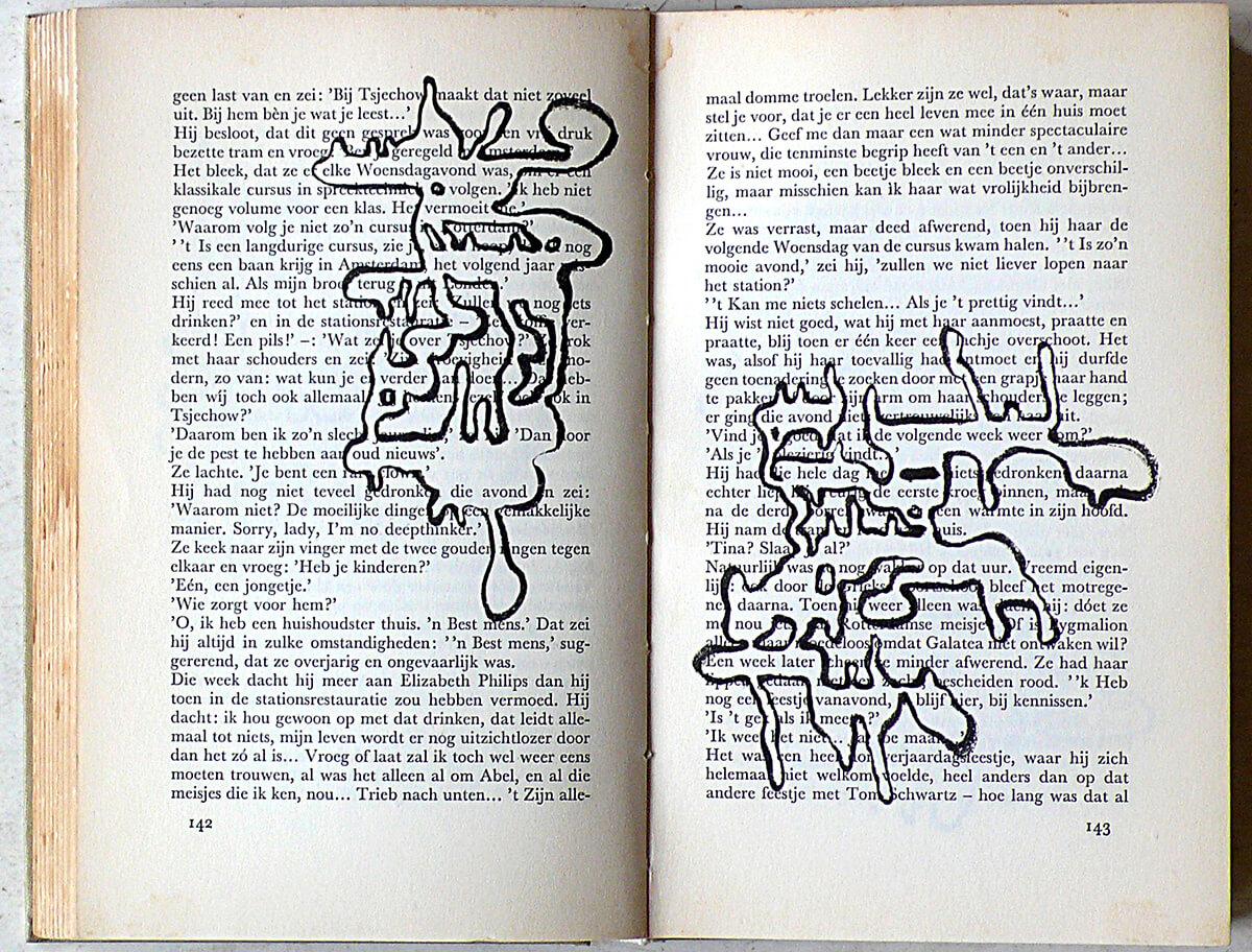 De Dagen zijn geteld, page 142+143 of 277 pages, 20,5 x 27 cm, ink on book, 2014