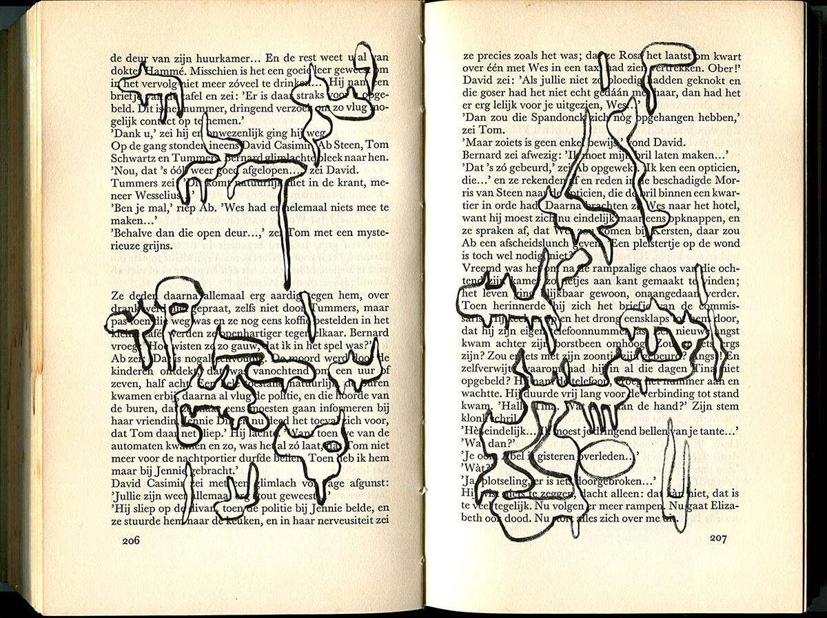 De Dagen zijn geteld, page 206 + 207 of 277 pages, 20,5 x 27 cm, ink on book, 2014