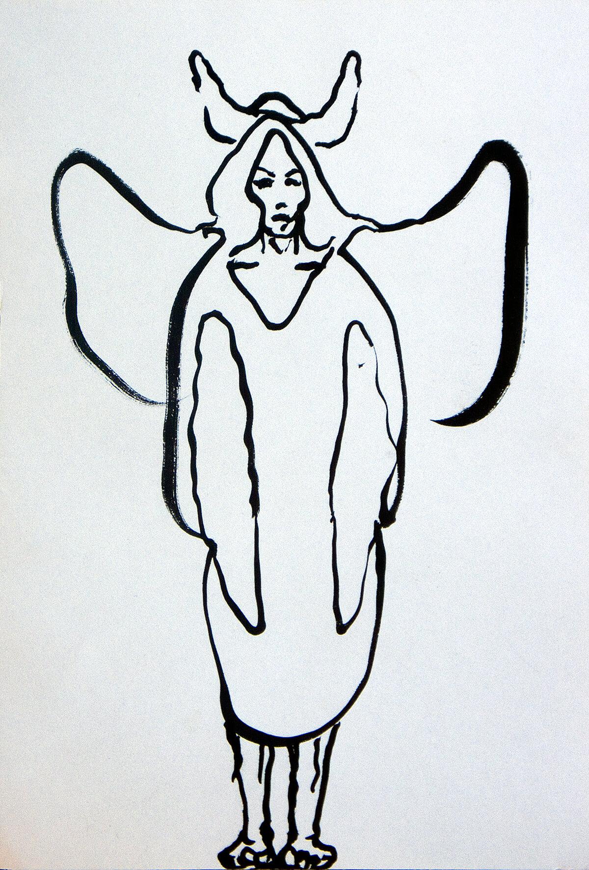 untitled (Viking angel), 15 x 10 cm, ink on paper, 2014