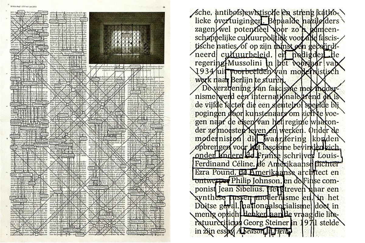 Nolde-Goebbels (with detail), 40.5 x 28,5 cm, ink on newspaper, 2015