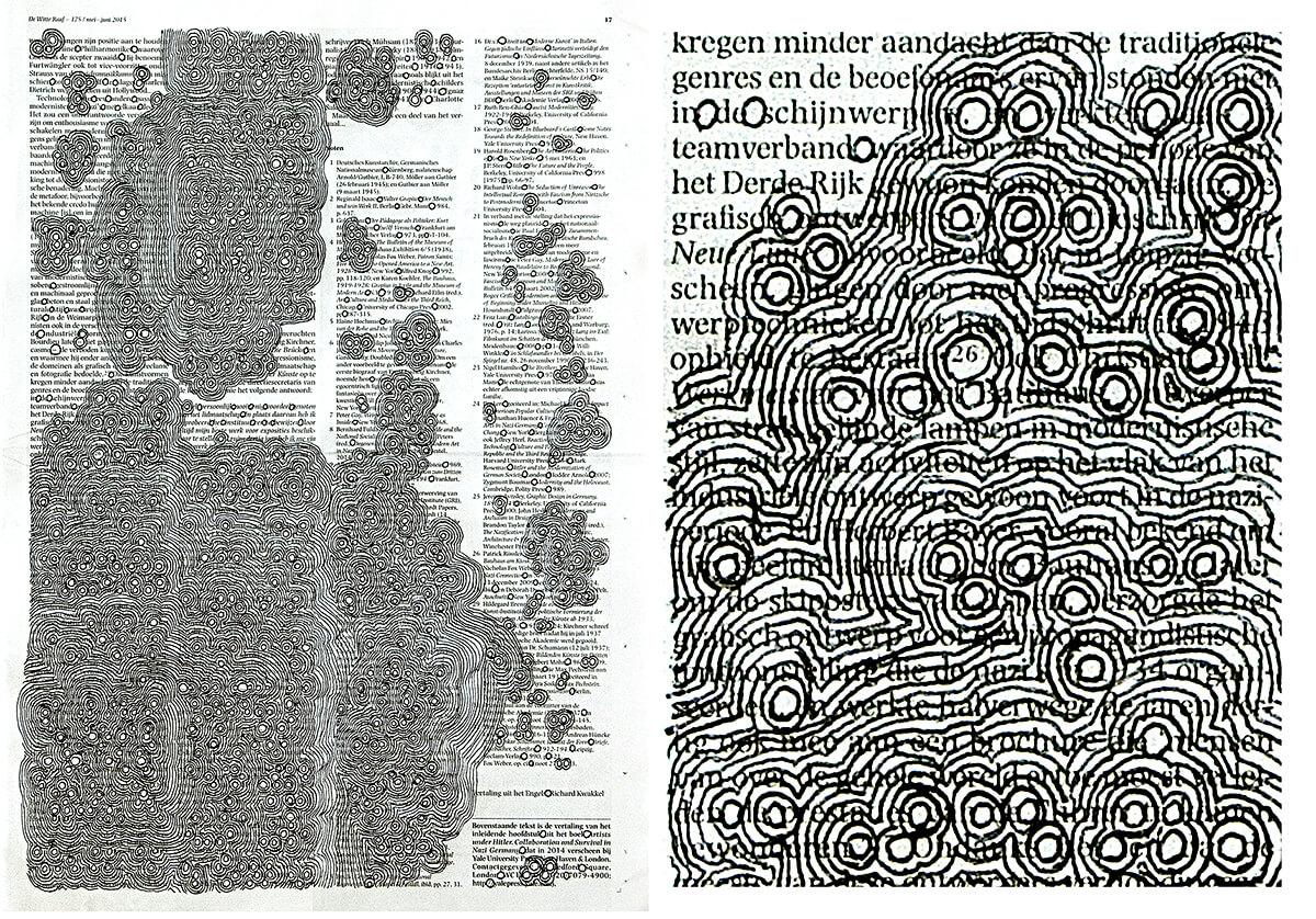 Zijn positie (with detail) 40,5 x 28,5 cm, ink on newspaper, 2015