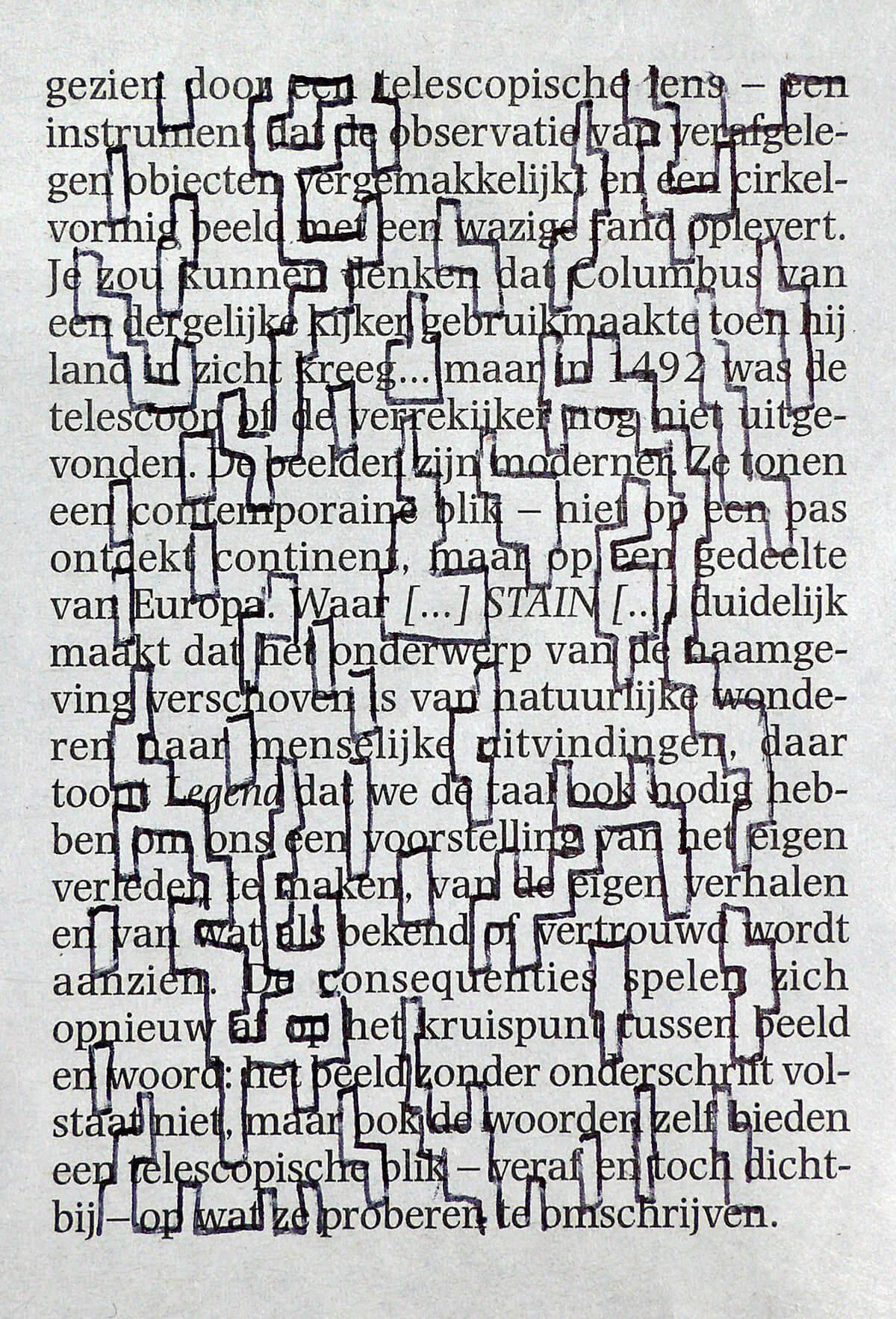 Gezien door, 9 x 12 cm, ink on newspaper, 2015