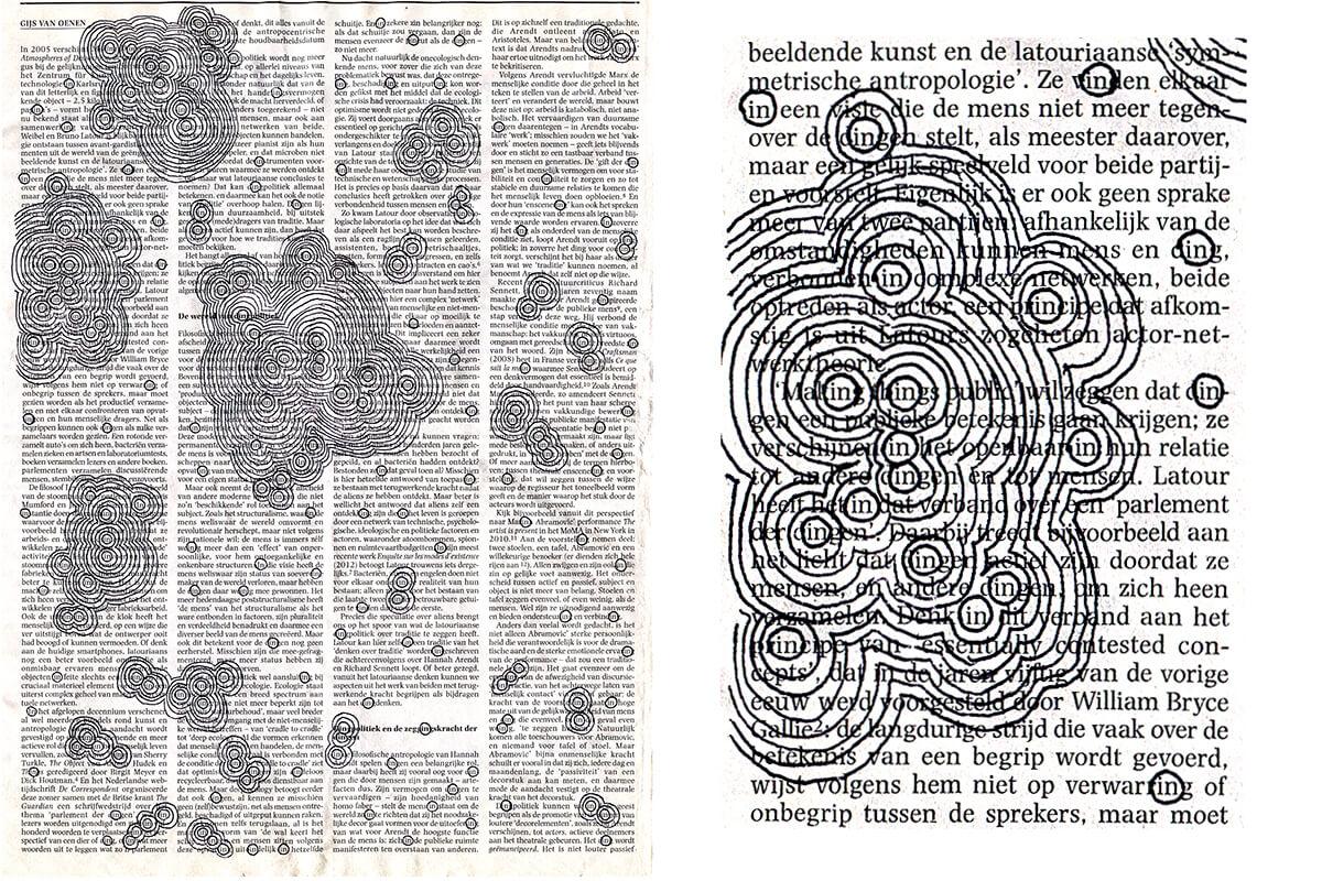 In 2005 verschijnt (with detail), 32,2 x 26,8 cm, ink on newspaper, 2016