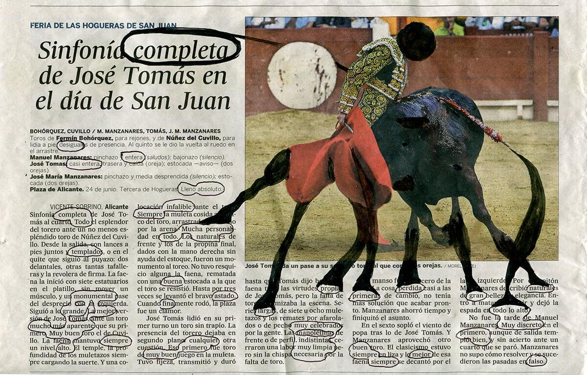 Sinfonía completa, 18 x 27,5 cm, ink on newspaper, 2016