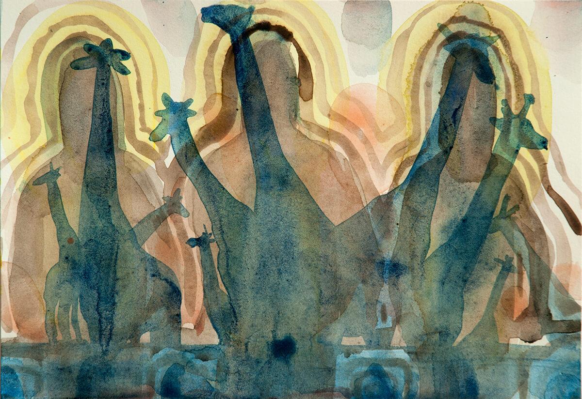 untitled (giraffes), 18 x 26 cm, watercolor, 2016
