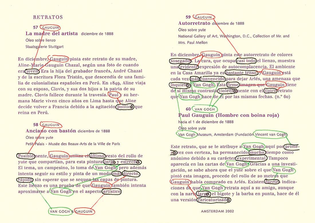 Van Gogh&Gauguin: Characteristics, versión Español version, text nr. 57-59, 93 pages, open 15 x 21 cm, ink on booklet, 2002