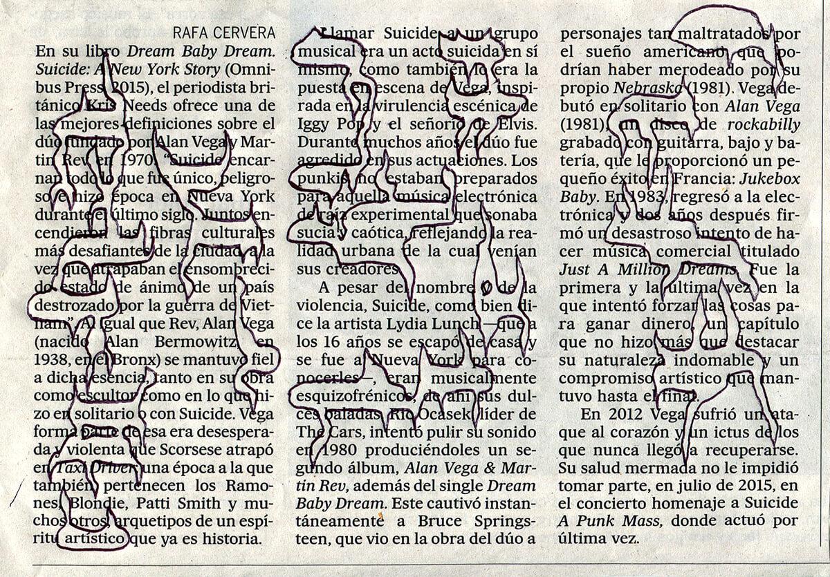 En su libro Dream,11,5x16,3cm, ink on newspaper, 2016